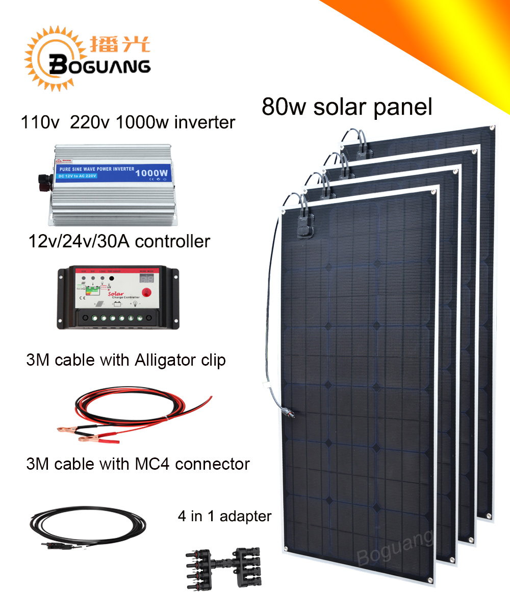 цены на Boguang 320w solar DIY kit system 80w solar panel Solar cell MC4 connector 110v 220v 1000w inverter 30A controller  12v battery в интернет-магазинах
