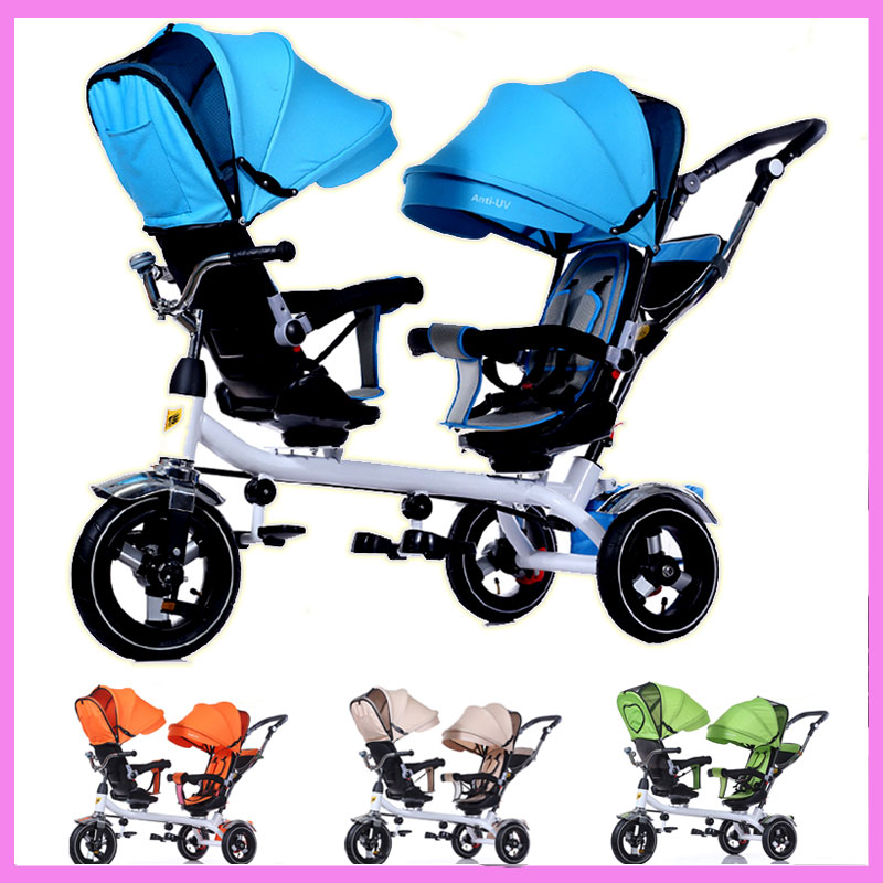 Anti UV Sunshade Twins Baby Stroller Double Tricycle Trolley Rotating Swivel Seat Prams Two Baby Carriage Carrier Buggies 2016 updated new one touch swivel two way seat child tricycle infant stroller baby bike trolley swivel seat tricycle