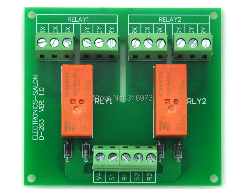 Passive Bistable/Latching 2 DPDT 8 Amp Power Relay Module, 24V Version, RT424F24