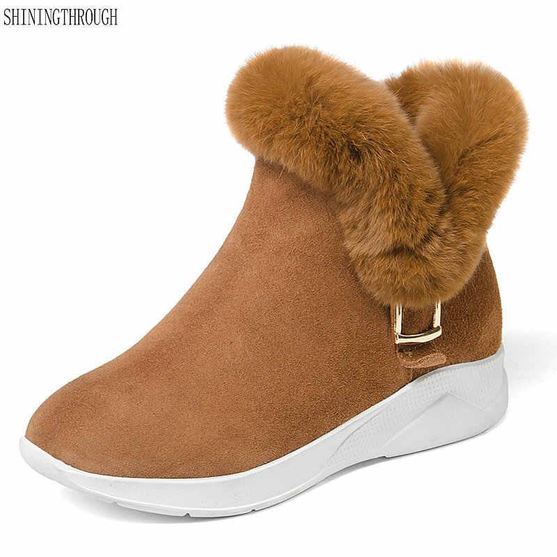 5423fcb3c5f6 Brand women Snow Boots 100% Wool Genuine Leather Keep Warm Winter Sheepskin  Boots low heels