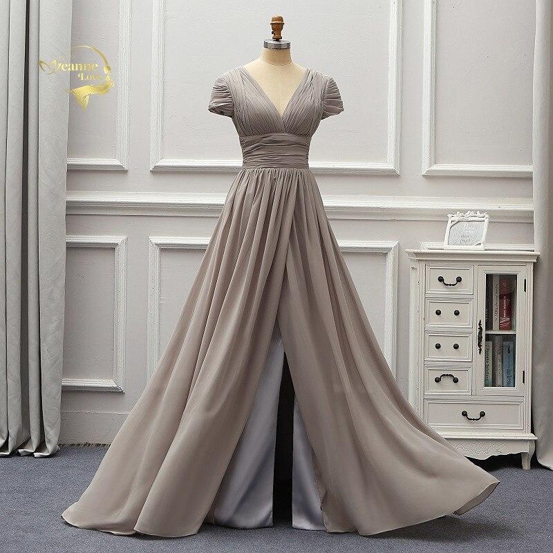 Grey Cap Sleeves Backless 2019 Fashion   Evening     Dresses   Vestido De Festa Longo Party Formal   Dresses   Mariage Brides Gown EV12