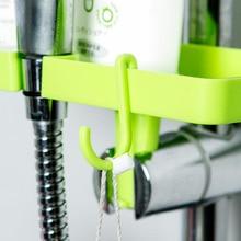1 pc hot plastic bathroom shower shelves double hook toiletries small platform assembled home improvement hardwares