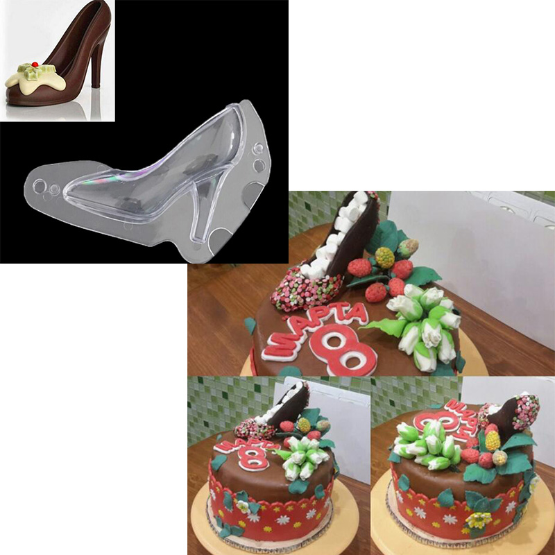 Delidge 1 pc 3D High-heeled Shoes Chocolate Cake Mold Plastic Fondant Ladies High Heels Cake Making Tools Baking Utensils YC031
