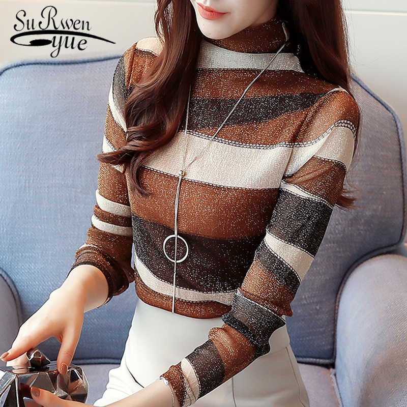 2018 fashion striped women shirts blouse turtleneck net yarn womens clothing long sleeve ...