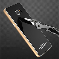 Original Metal Case For Samsung Galaxy Note 5 N920 Luxury Aluminum Frame Tempered Glass Case Hard
