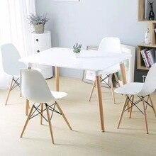 Минималистический современный дизайн набор обеденной мебели 1 стол 4 стула пластиковый стул деревянный стол обеденный набор цена 1 шт не за набор