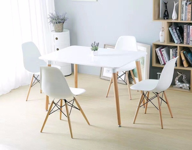 Minimalist Modern Design Dining Furniture Set 1 Table 4 Chairs Plastic  Chair Wooden Table Dining Set