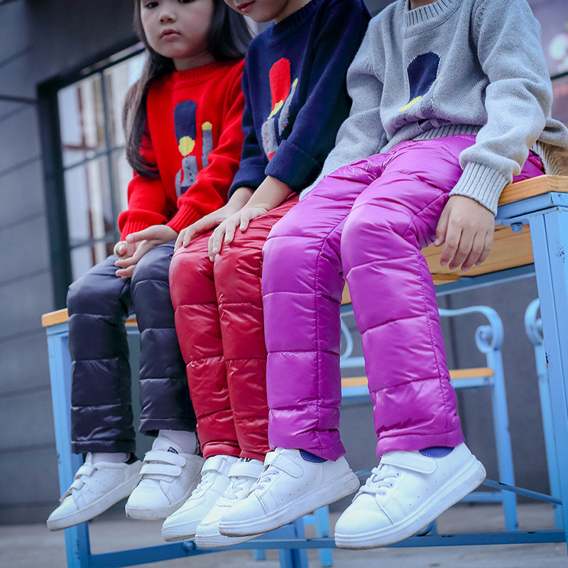 цена на Kids warm White Duck down trousers clothes pants for boys / girls winter children clothes down kids baby fluorescence leggings