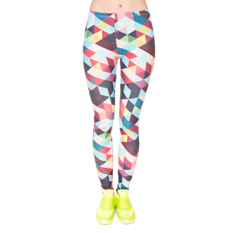 Brand Women Colour Geometry Printing Legging High Elastic Fitness Legging Trousers LeggingsWomen Pants