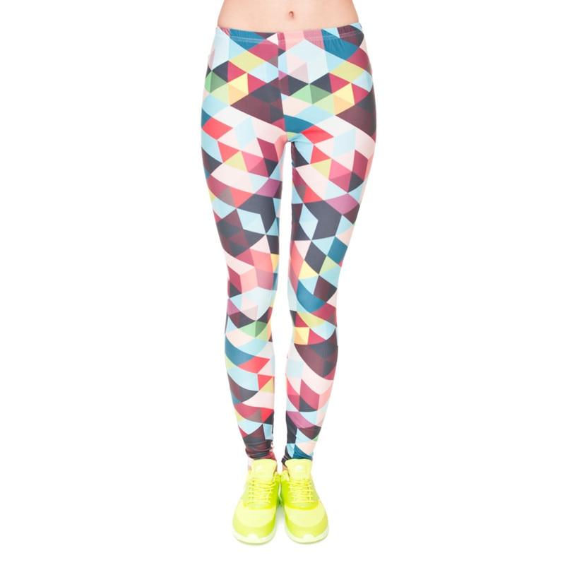 Brand Women Colour Geometry Printing Legging High Elastic Fitness Legging Trousers LeggingsWomen Pants