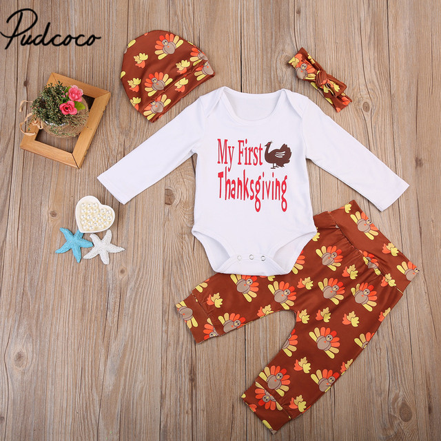 3672bc4c6 4PCS Set First Thanksgiving Toddler Newborn Infant Baby Boy Girl ...