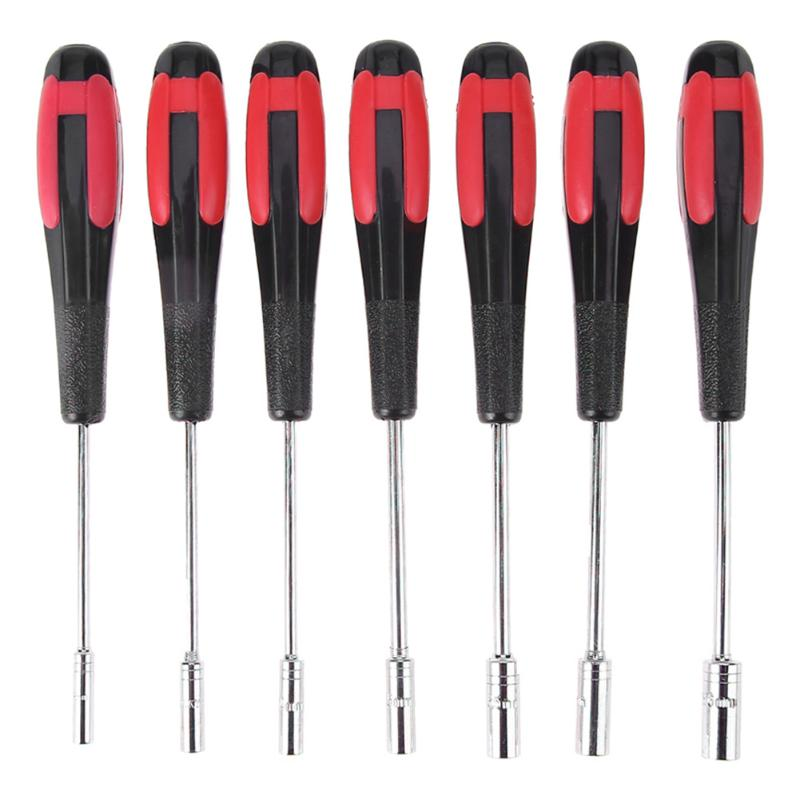 цена на 1 set M3 M3.5 M4 M4.5 M5 M5.5 M6 Multifunction Steel Socket Driver Hex Nut Key Wrench Screwdriver Nutdriver Set Hand Tool