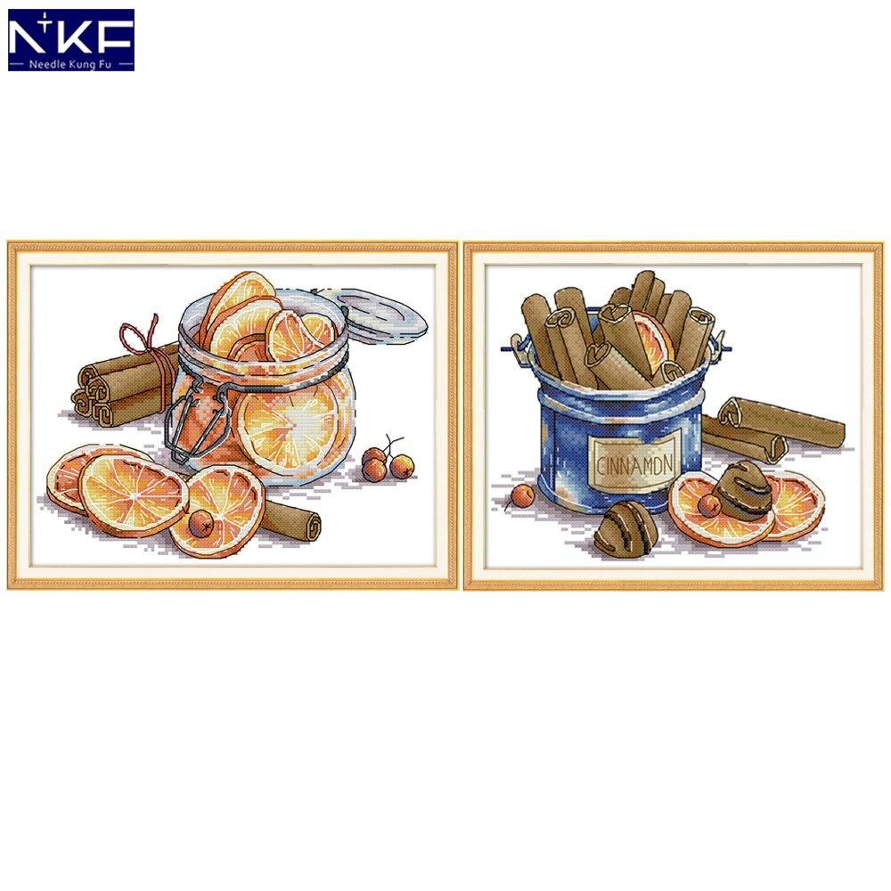 NKF Набор для вышивки крестиком с лимоном и корицей 11CT 14CT Китайская вышивка крестиком для домашнего декора|Упаковка| | - AliExpress