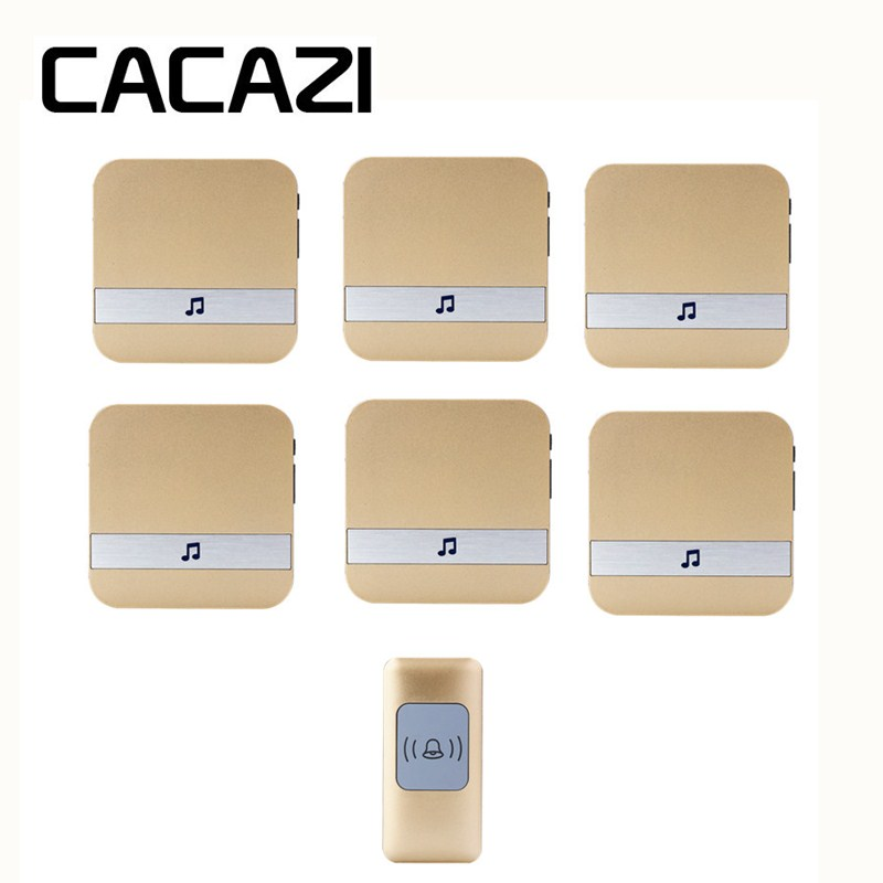 CACAZI Wireless Doorbell Waterproof Smart Battery Button Household Call Ring 52 Songs AC 75-250V Receiver US EU Plug 300M Remote cacazi waterproof wireless battery button doorbell smart sensor 300m remoto receiver 75 250v us plug household ringbell 52 songs