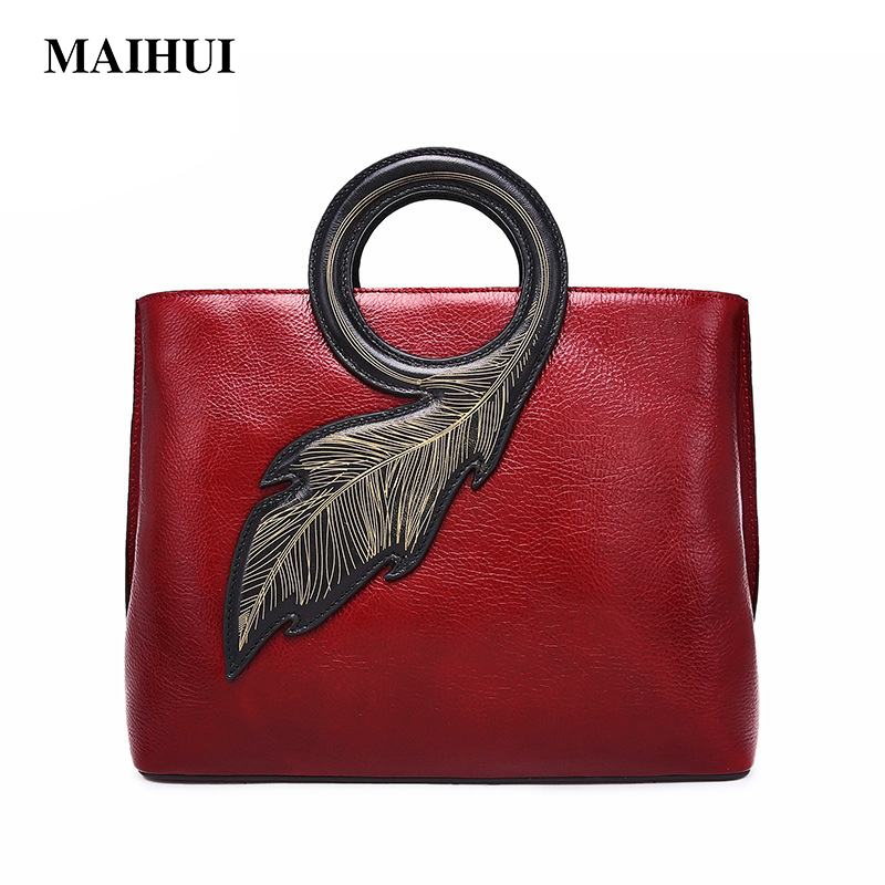 Maihui women leather handbags high quality shoulder bags cowhide real genuine leather Top-handle bags 2018 new fashion tote bag kzni real leather tote bag high quality women leather handbags top handle bags purses and handbags bolsa feminina pochette 9057