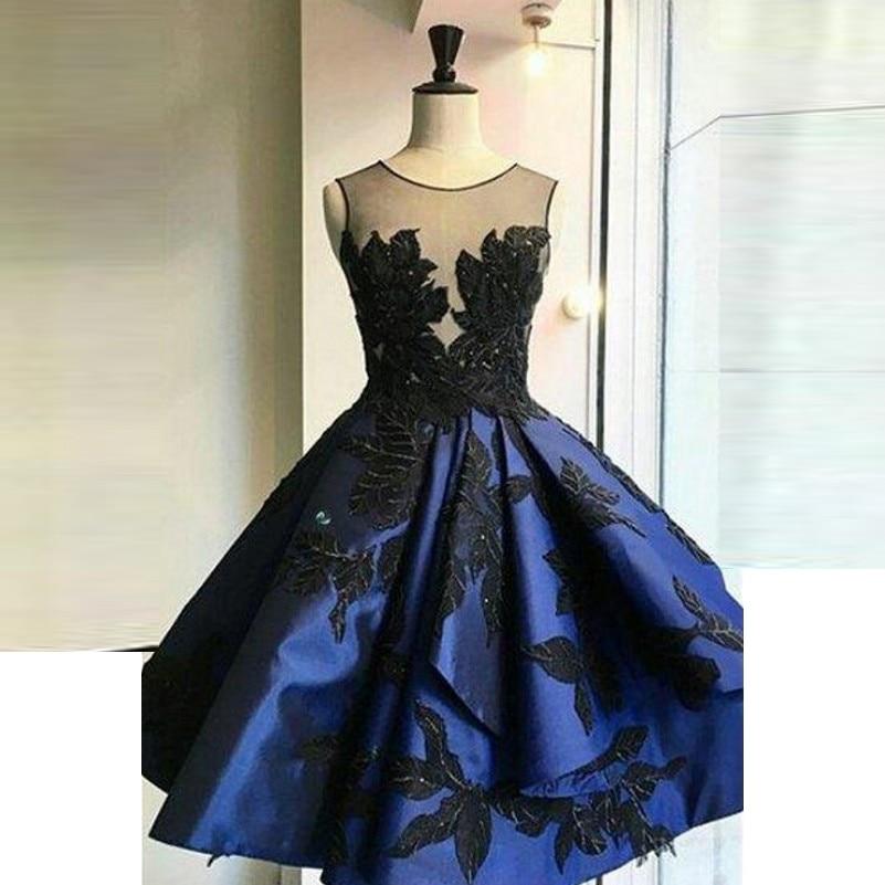 Royal Blue Evening Dress Appliques Neck Sleeveless Robe De Soiree