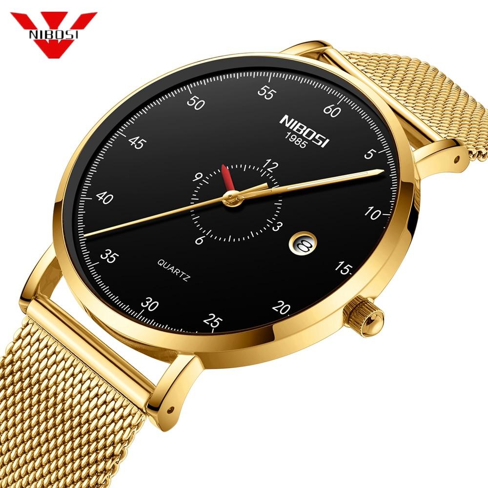 NIBOSI Mens Watches Fashion Casual Sport Quartz Watch Men Military Waterproof Ultra Thin Slim Wrist Watch Relogio Masculino Saat