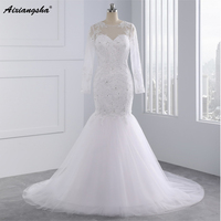 New Arrival 2017 Long Sleeves Mermaid Wedding Dresses For Wedding Party Beading Appliques Bridal Gown Court
