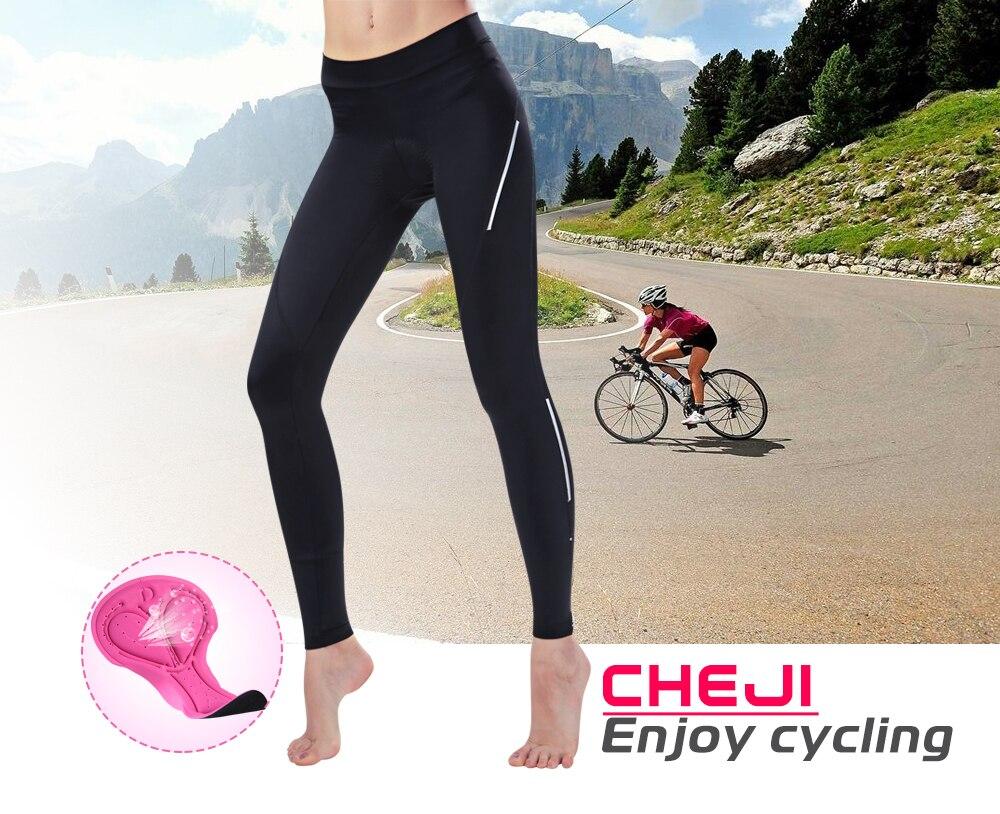 CHEJI 2018 Велоспорт Брюки женские длинные велосипедные брюки высококачественный MTB дорожный велосипед 3/4 колготки черные Велоспорт Длинные 3/4 лайкра