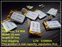 302030 135mah 3.7V mp3/4 bluetooth GPS locator batteries battery lithium polymer battery toys