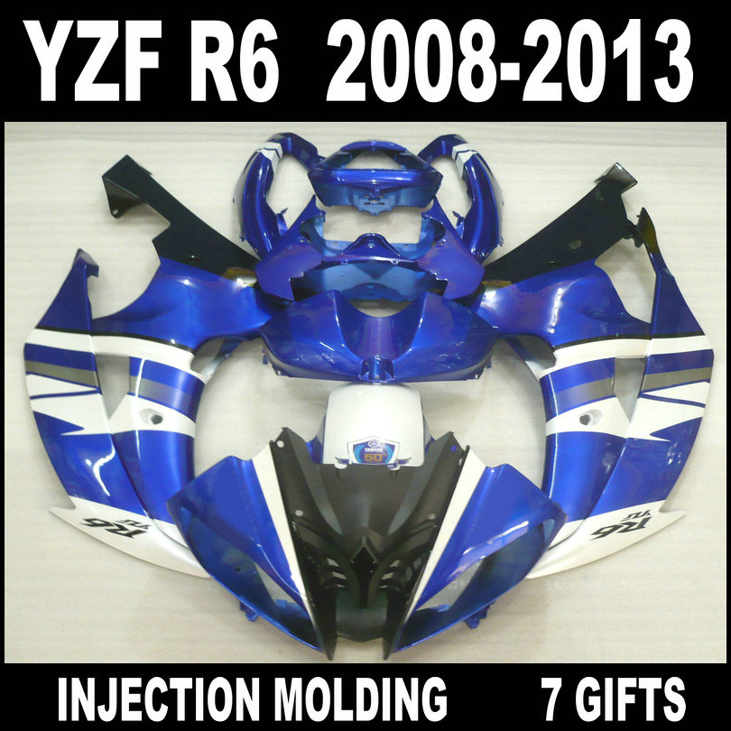 7 Gifts <font><b>fairings</b></font> for 08 09 10 11 12 13 white blue black YAMAHA <font><b>R6</b></font> <font><b>fairings</b></font> hot sale <font><b>2008</b></font> 2009 - 2013 <font><b>YZF</b></font> <font><b>R6</b></font> bdoy <font><b>fairing</b></font> <font><b>set</b></font> image