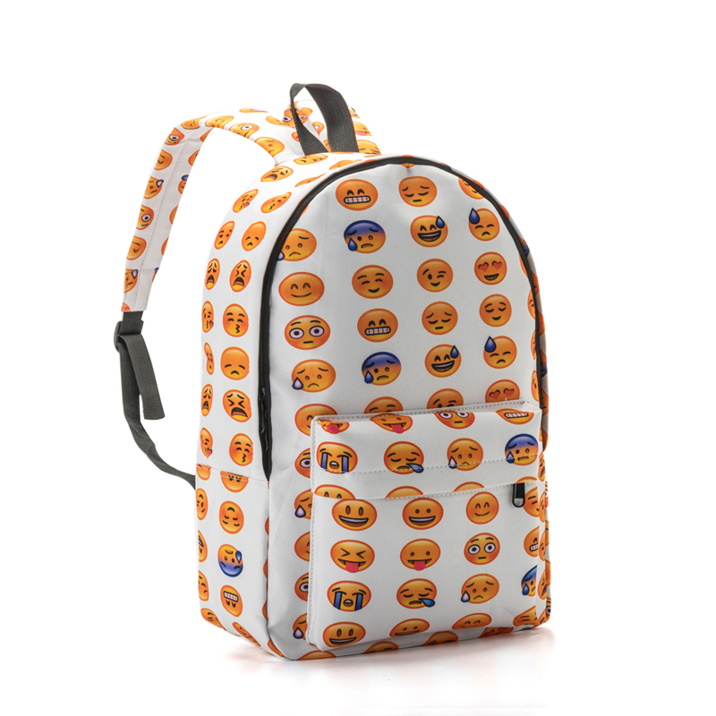 Canvas font b Backpack b font For Teenager Girls Cute Emoji Printing School Bags Children Casual