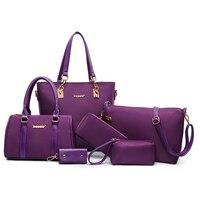 Women S Handbag 2016 Summer Canvas Nylon Oxford Fabric Picture Package 6 Pcs Set Big Bag