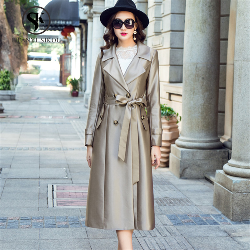 2019 Gold Breasted Mode champagne Printemps Survêtement D'affaires Femmes coat Black Longue Classique Double Tranchée Ceinture Designer Trench Dame Élégant Marque 0wFfqH0Z