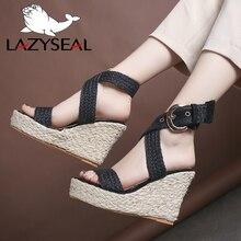 LazySeal Gladiator 11cm Platform Wedge Sandals Women