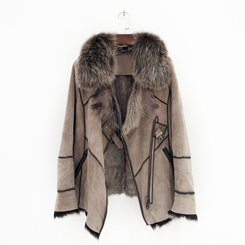 100% genuine sheepskin leather with fur coat with fox fur collar slim styles fashion women autumn skin and lamb sheep fur jacket