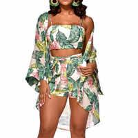 3Pcs Women Floral Top Shorts Cardigan Long Sleeve Jumpsuit Vest Trousers Romper Playsuit Belt Bottoms Strap Cover Up Cloak Sets