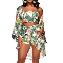 3Pcs Women Floral Top Shorts Cardigan Long Sleeve Jumpsuit Vest Trousers Romper