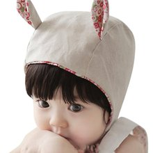Cute Infant Baby Girls Boys Floral Hat Cartoon Little Ear Princess Palace Cap Baby Cotton Hats
