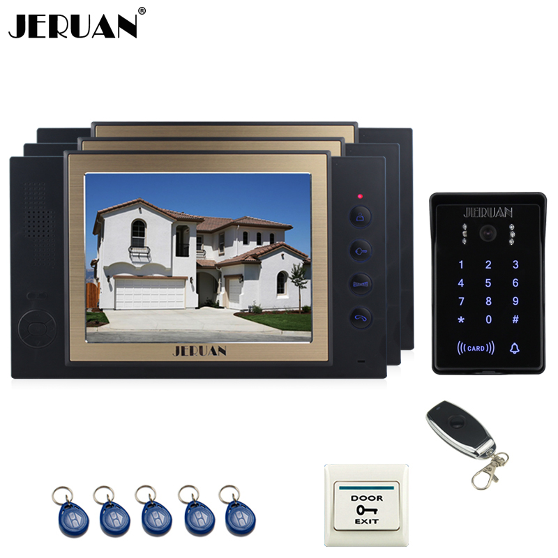 JERUAN 8 inch video door phone Record intercom system 3 monitor New RFID waterproof Touch Key password keypad Camera 8G SD Card jeruan 8 inch tft video door phone record intercom system new rfid waterproof touch key password keypad camera 8g sd card e lock