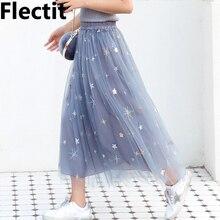 Женская фатиновая юбка пачка, блестящая юбка средней длины с блестками и звездами, прозрачная сетчатая юбка пачка
