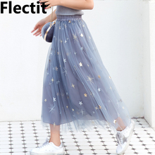 Flectit Women Glitter Sequined Stars Tulle Skirt Women Sheer Mesh Midi Length Tutu Skirt Ladies Skirts sheer mesh insert zip back fishtail skirt