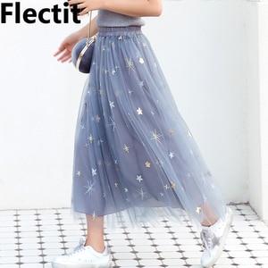 Image 1 - Flectit jupe Tutu à paillettes pour femmes, en Tulle, étoiles, en maille transparente, longueur Midi