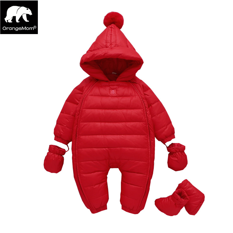 winter 2018 New Year Baby jumpsuits red christmas holiday feather down jackets for girls clothing with hooded baby boy rompers hetty feather s christmas