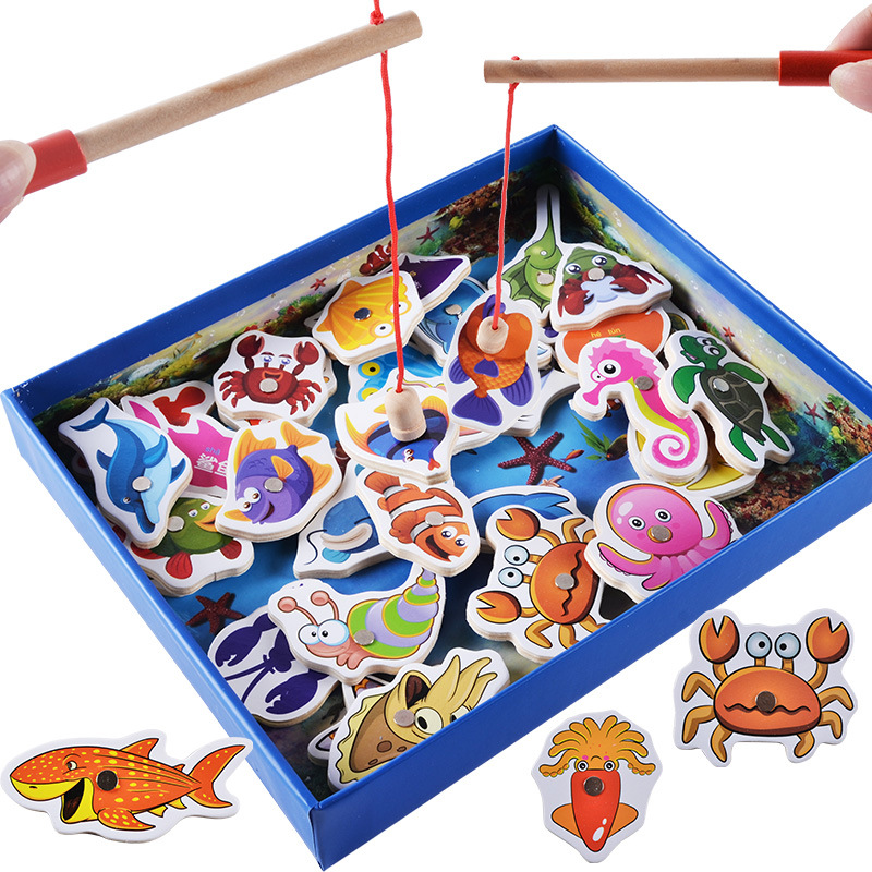 Baby Educational Toys 32Pcs Fish Wooden Magnetic Fishing Toy Set Fish Game Educational Fishing Toy Birthday / Christmas Gift new 14 fishes 2 fishing rods wooden children toys fish magnetic pesca play fishing game tin box kids educational toy boy girl