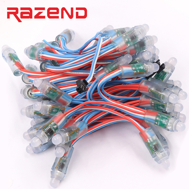 Nuevo WS2811 pixel led módulo 12mm IP68 impermeable DC5V color RGB cuerda de Navidad de luz LED direccionable como ucs1903 WS2801