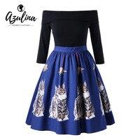 AZULINA Plus Size Cat Print Off The Shoulder Dress Vintage Elegant Party Dress Vestidos 3 4