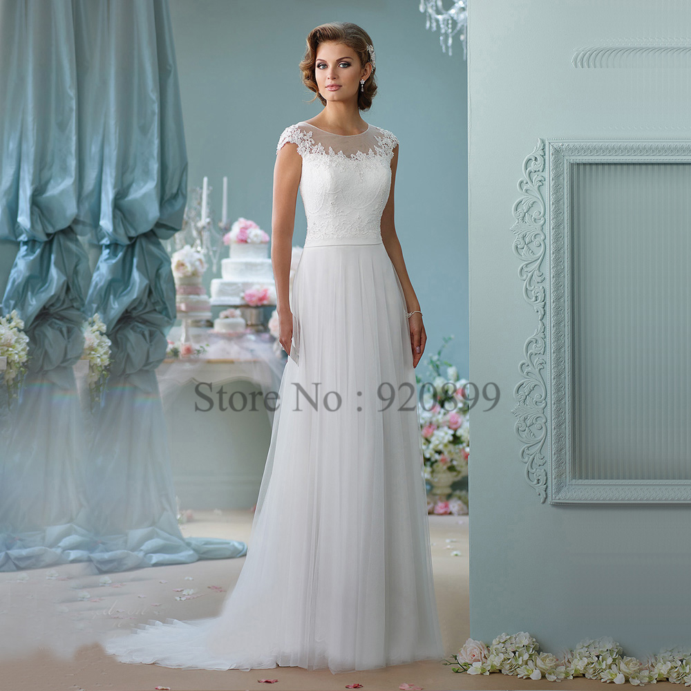 Simple Elegant Tulle A Line Scoop Neck Cap Sleeves Lace