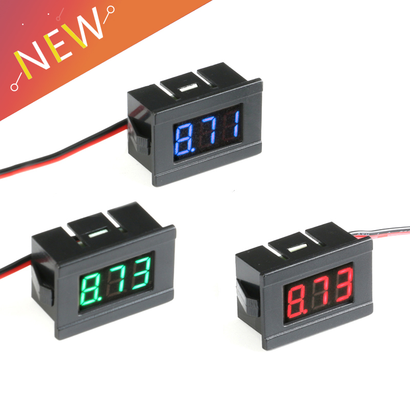 <font><b>0.36in</b></font> DC 4.5V to 30V 2-Wire Mini Digital Voltmeter LED Display Voltage Meter for Testing Car Motorcycle and Battery Cart image