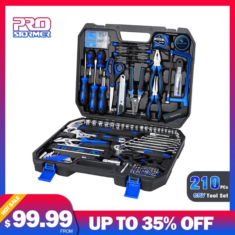 Prostormer 210 PC ensemble voiture réparation outil à main scie à cliquet clé manchon pince scie manuel complet professionnel Kit d'outils de réparation
