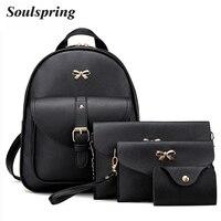 4Pcs Set PU Leather Women Backpack Cute Bow School Bags For Teenage Girls Backpacks Fashion Chains
