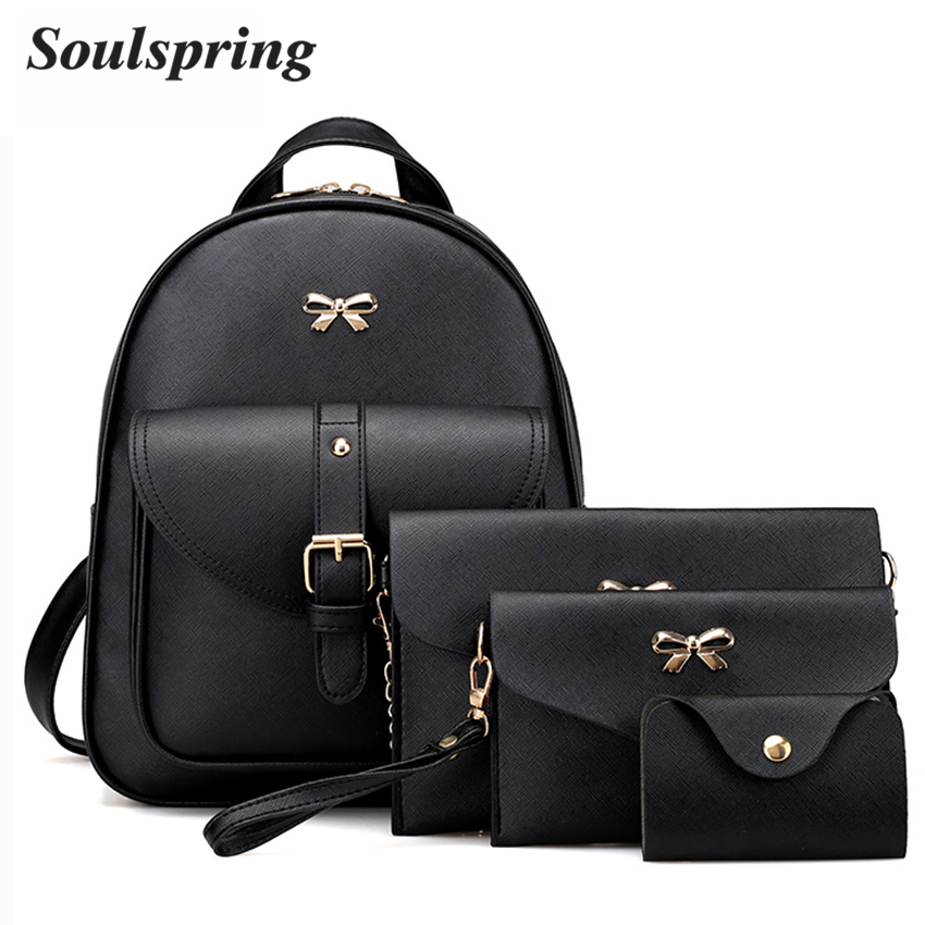 4Pcs/Set PU Leather Women Backpack Cute Bow School Bags For Teenage Girls Backpacks Fashion Chains Shoulder Bag Purse Sac A Dos fashion pu leather women backpacks 4pcs set rivet school bag for teenage girls bow mochila bags lady backpack mochila