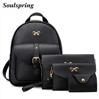4Pcs/Set PU Leather Women Backpack Cute Bow School Bags For Teenage Girls Backpacks Fashion Chains Shoulder Bag Purse Sac A Dos