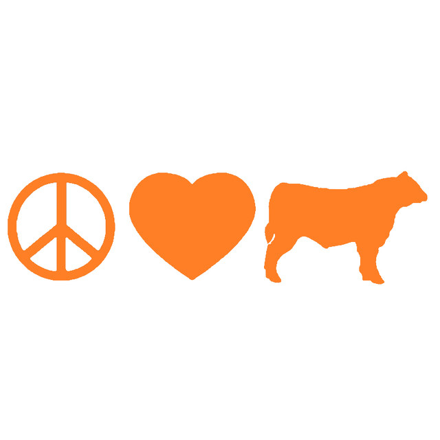 Online Shop Hotmeini Peace Love Cattle Animal Prints Car Sticker