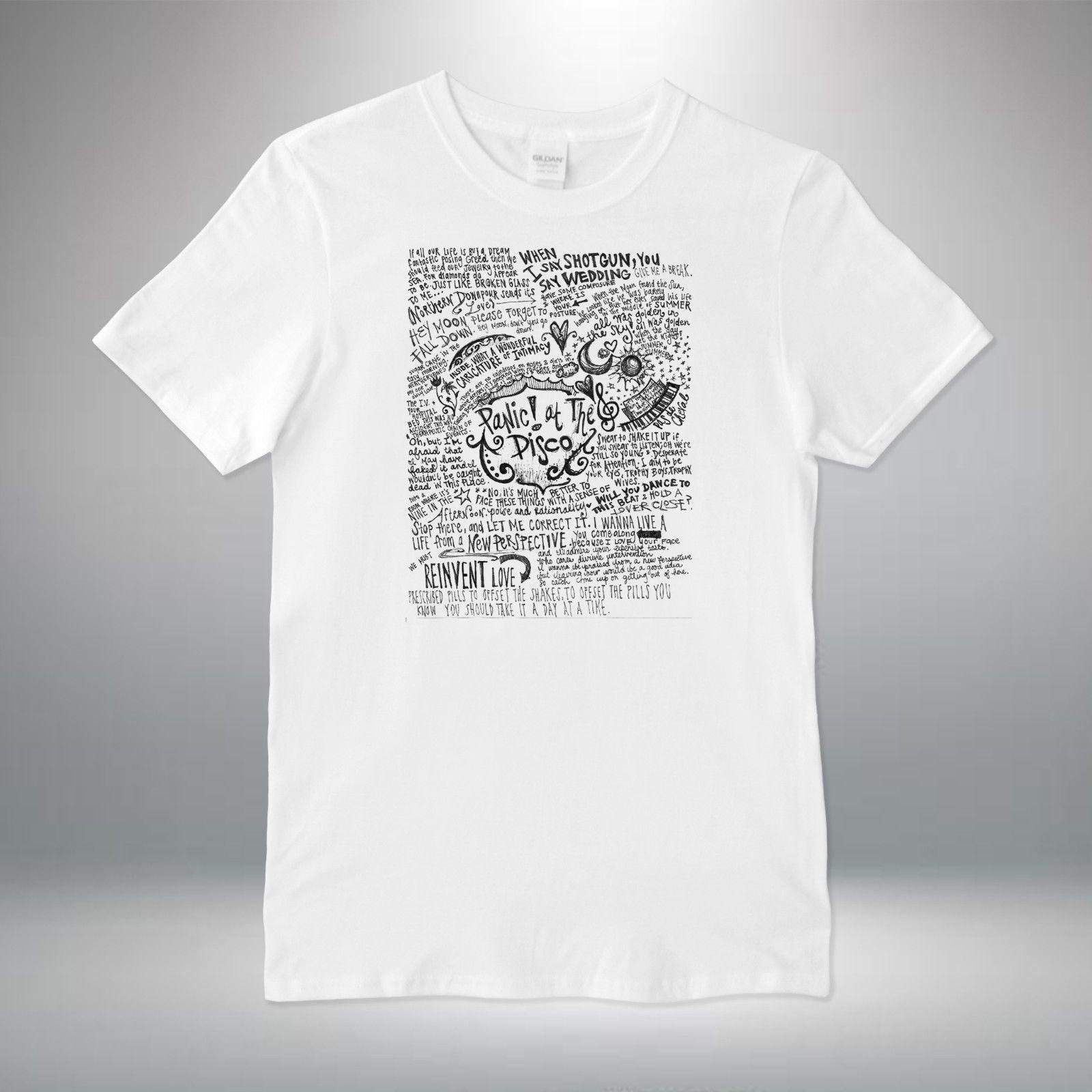 28e99904d Panic At The Disco Rock Band Lyrics Collage T-shirt Vest Top Men Unisex  Print T Shirt Men Harajuku Top Tee PLUS SIZE