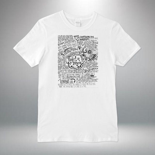 86fff3cd Panic At The Disco Rock Band Lyrics Collage T-shirt Vest Top Men Unisex  Print T Shirt Men Harajuku Top Tee PLUS SIZE